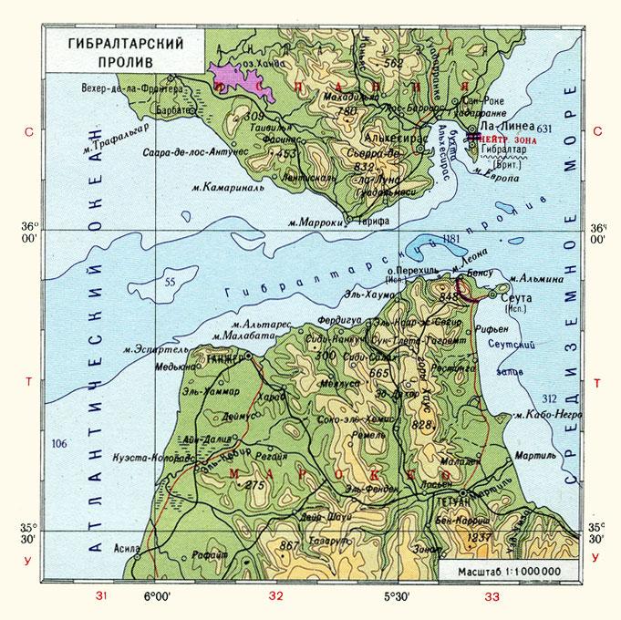 Гибралтарский пролив на карте
